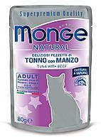 Корм Monge Adult для взрослых кошек (Тунец и телятина в желе) - 80 г