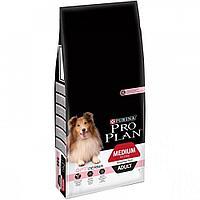 Корм Pro Plan для взрослых собак средних пород с чувствительной кожей (Лосось, Рис) - 14 кг