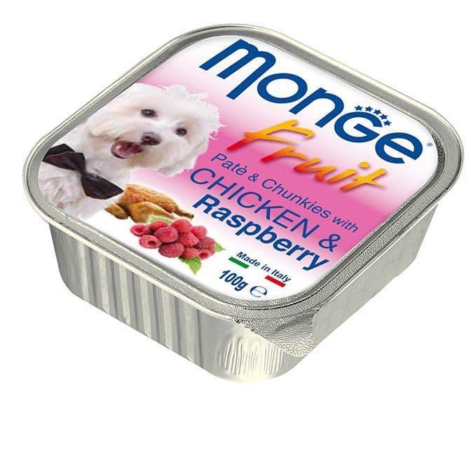 Паштет Monge Fruit Dog для собак, всех пород (Курица с Малиной) - 100 г