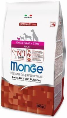 Корм Monge Extra Small для взрослых собак миниатюрных пород (Баранина, рис и картофель) - 2.5 кг