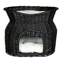 Плетеный домик-лежанка с подушками - 54х43х54 см