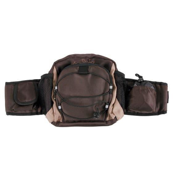 Коричневая сумка для лакомств с кольцами для крепления поводка - пояс 57-138 см - 20-21 см