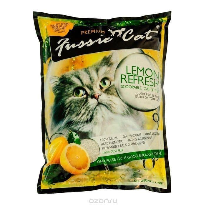 Комкующийся наполнитель Fussie Cat для кошачьего туалета (Лимон) - 5 л