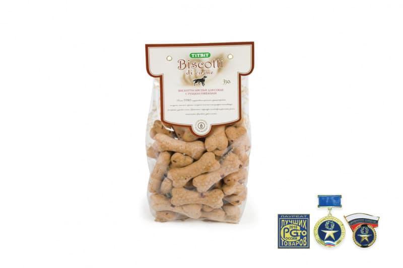 Печенье Бискотти для улучшения пищеварения собак (Говяжий рубец), TitBit - 350 г