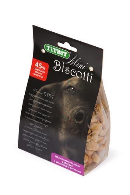Печенье Бискотти-мини для собак (Баранина и фрукты), TitBit - 200 г