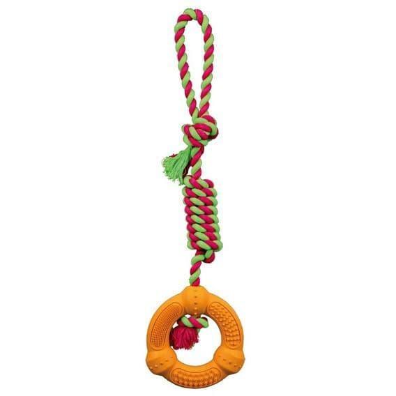 """Игрушка """"Каучуковое кольцо с плетеной ручкой"""" для собак, для игры в перетягивание, Trixie - 12х41 см"""
