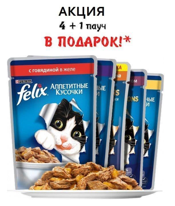 Влажный корм Purina Felix для взрослых кошек - 4+1