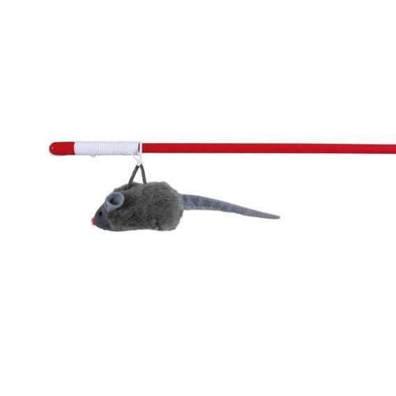 Удочка с мышкой на веревке и со звуком - 47 см