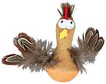 Плюшевй петух-неваляшка с перьями и со звуком - 10 см