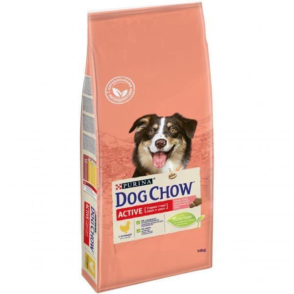 Корм Dog Chow для активных взрослых собак (Курица) - 14 кг