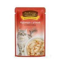 Влажный корм для кошек Деревенские лакомства. Курица с уткой в нежном желе 70 гр.