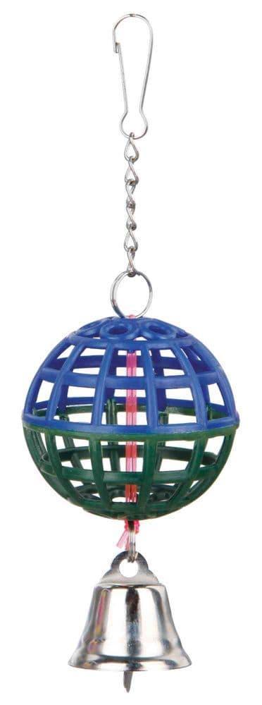 Пластиковая игрушка для попугаев и канареек шар с колокольчиком - 7 см
