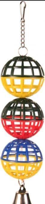 Пластиковая игрушка для попугаев три шарика с колокольчиком - 16 см