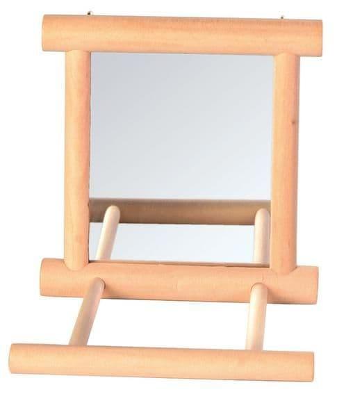 Игрушка Зеркало Trixie для мелких птиц, с жердочкой, деревянное - 9х9 см