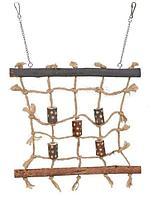 Игрушка Сетка для лазания Trixie мелким птицам из натурального дерева, сизаля и игрушки - 27х24 см