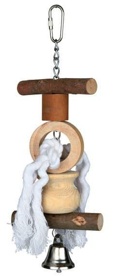 Игрушка Trixie для попугаев и канареек, из дерева и веревочек с колокольчиком - 20 см