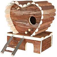 Деревянный двухэтажный домик со съемной крышей - 19х13х21 см