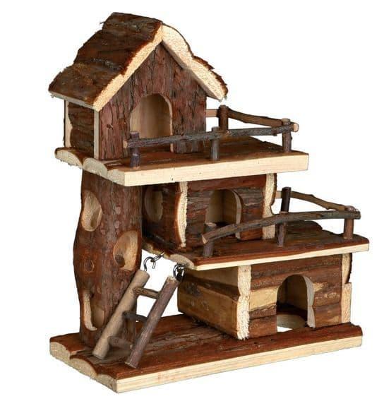 Деревянный домик-площадка с тоннелями - 25х12х30 см