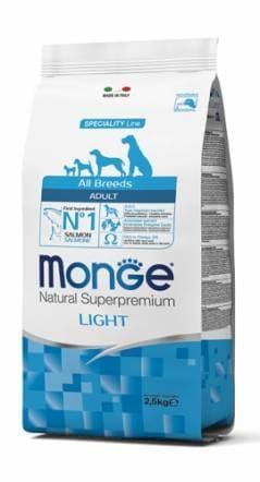 Корм облегченный Monge All Breeds Adult Light для взрослых собак всех пород (Лосось) - 2.5 кг