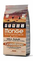 Корм беззерновой Monge Mini Adult для взрослых мелких собак с аллергией на глютен (Утка) - 2.5 кг