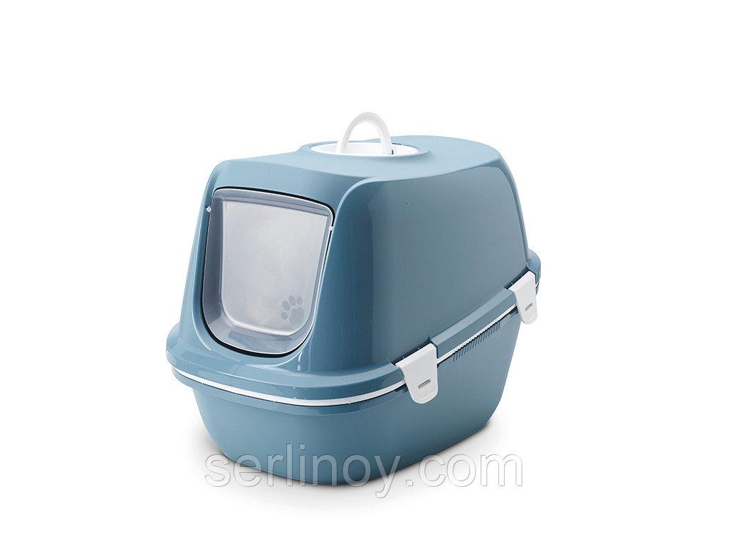 Био-Туалет для кошек Savic Riena Sift с угольным фильтром и ситом (каменно-синий) - фото 1
