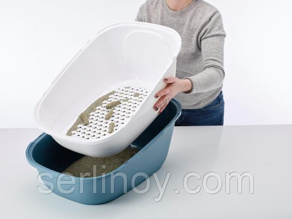 Био-Туалет для кошек Savic Riena Sift с угольным фильтром и ситом (каменно-синий) - фото 2