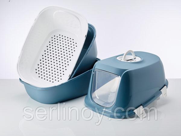 Био-Туалет для кошек Savic Riena Sift с угольным фильтром и ситом (каменно-синий) - фото 3