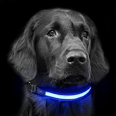 Светодиодный ошейник для собак usb, цвет голубой, размер S, фото 3