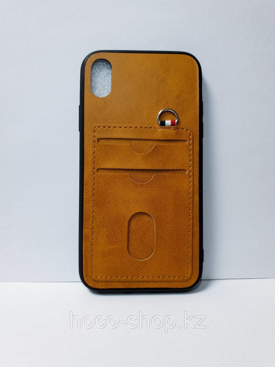 Кожаный чехол с визитницей  iPhone XR