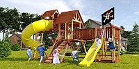 Детская площадка Савушка LUX-15, кольца-трапеция, канат, альпинис.сетка, игровая башня, горка-труба., фото 1