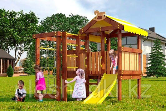 Детская площадка Савушка BABY-1(play), швед. стенка, балкон, игровой домик, турник, бинокль, руль.