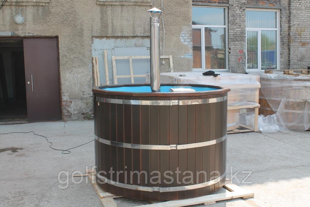 Купель-Фурако из кедра д. 220 см. / круглая / с пластиковой вставкой / внутренняя печь