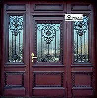 Входная дверь комбинированная ковка и стекло