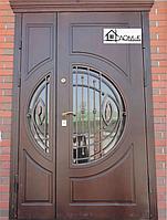 Входные двери двухстворчатые со стеклом на заказ в Алматы