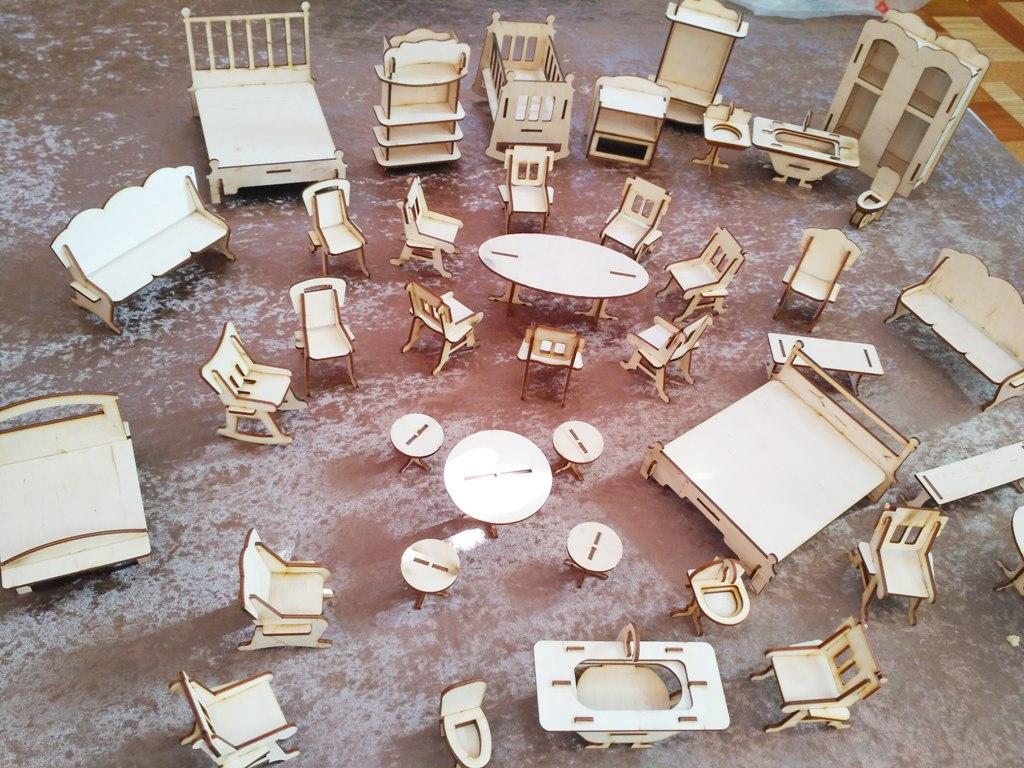 Кукольная ЭКО мебель для маленьких кукол (38 предметов)