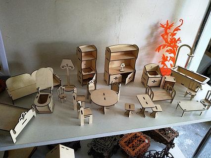 Кукольная ЭКО мебель для маленьких кукол (28 предметов)