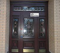 Дверь со стеклопакетом и ковкой в Алматы