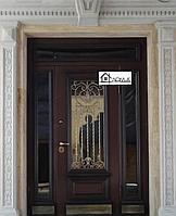 Дверь входная со стеклом и ковкой в Алматы