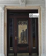 Дверь входная со стеклопакетом и ковкой на заказ в Алматы
