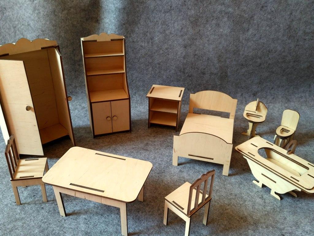 Кукольная ЭКО мебель (10 предметов)