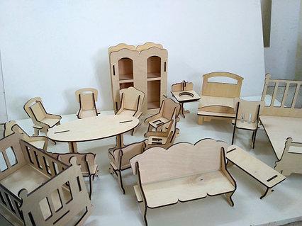 Кукольная ЭКО мебель для больших кукол (17 предметов)