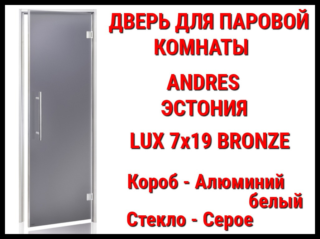 Дверь для паровой комнаты Andres Lux Bronze Gray