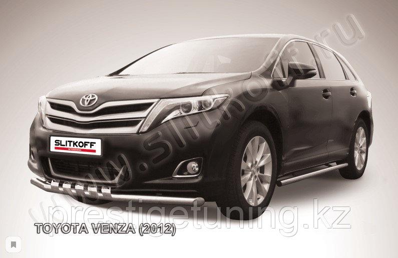 Защита переднего бампера d57 с декоративными элементами Toyota Venza (2013)