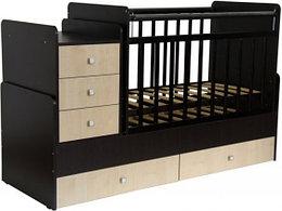 """Кроватка - трансформер Фея """"1100"""", (венге-клен),, маятник (поперечный), ящик - 2, комод - 1, пеленальный стол"""