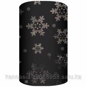 Non-branded Новогодняя упаковочная, металлизированная бумага с лазерной печатью, 70*150 см, черный.