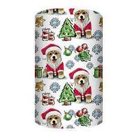 Non-branded Упаковочная бумага немелованная, Собачка в костюме Деда Мороза, 70*100 см.