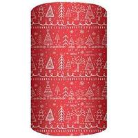 Non-branded Упаковочная бумага супергладкая, легкомелованная, Новогодние Ели, 70*150 см, на красном фоне.