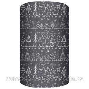 Non-branded Упаковочная бумага супергладкая, легкомелованная, Новогодние Ели, 70*150 см, на сером фоне.