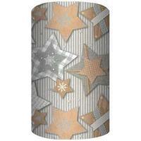 Non-branded Упаковочная бумага супергладкая, целлюлозная, Звёзды, 70*150 см, на сером фоне.