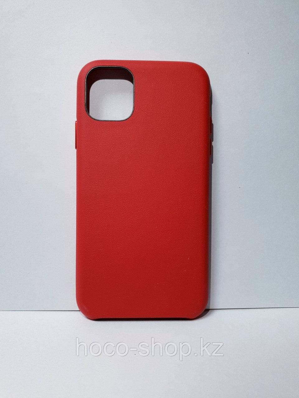 Кожаный защитный чехол для iPhone 11 красный